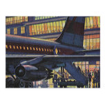 Vintage Airport, Passengers Boarding Airplane Postcard