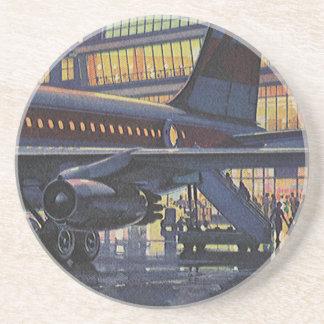 Vintage Airport, Passengers Boarding an Airplane Beverage Coaster