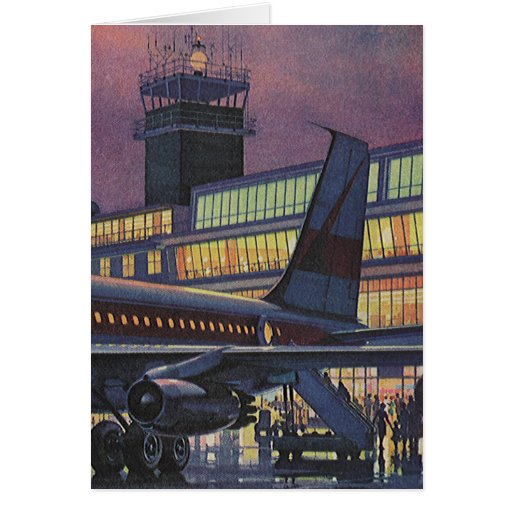 Vintage Airport, Passengers Boarding an Airplane Greeting Card