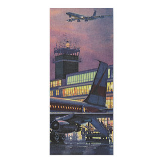 """Vintage Airport, Passengers Boarding an Airplane 4"""" X 9.25"""" Invitation Card"""