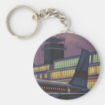 Vintage Airport, Passengers Boarding an Airplane Key Chain