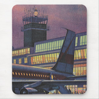 Vintage Airport, Passengers Boarding an Airplane Mouse Pad