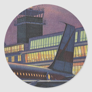 Vintage Airport, Passengers Boarding an Airplane Round Sticker