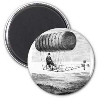 Vintage Airship / Balloon Blimp Dirigible 2 Inch Round Magnet