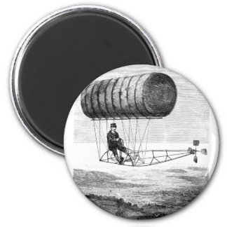 Vintage Airship / Balloon Blimp Dirigible 2 Inch Round Magnet