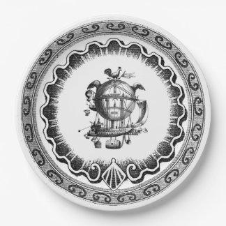 Vintage Airship Steampunk Design Paper Plate
