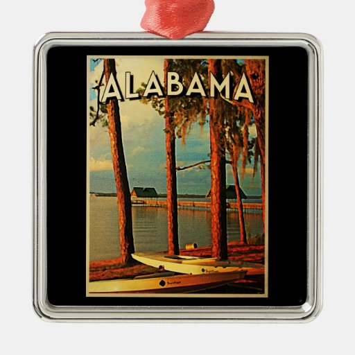 Vintage Alabama Adorno Navideño Cuadrado De Metal