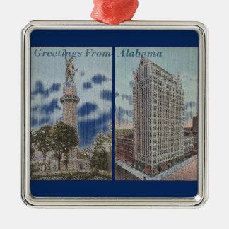 Vintage Alabama Adorno Cuadrado Plateado