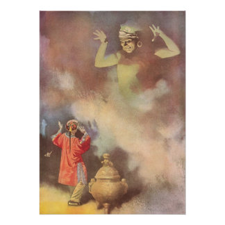 Vintage Aladdin and the Genie of the Lamp, Godwin Poster
