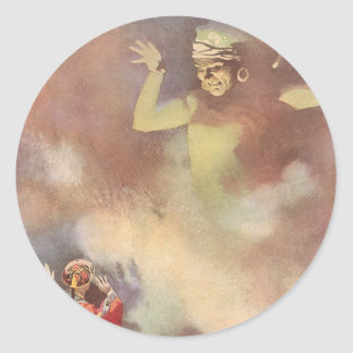 Vintage Aladdin and the Genie of the Lamp, Godwin Classic Round Sticker