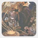 Vintage Aladdin y el cuento de hadas de la lámpara Calcomanía Cuadradas Personalizada