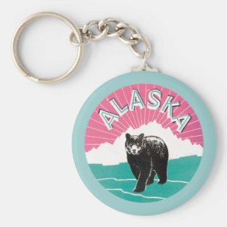 Vintage Alaska Llavero Redondo Tipo Pin