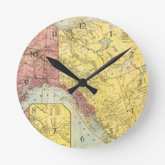 Vintage Alaska Map Round Clock