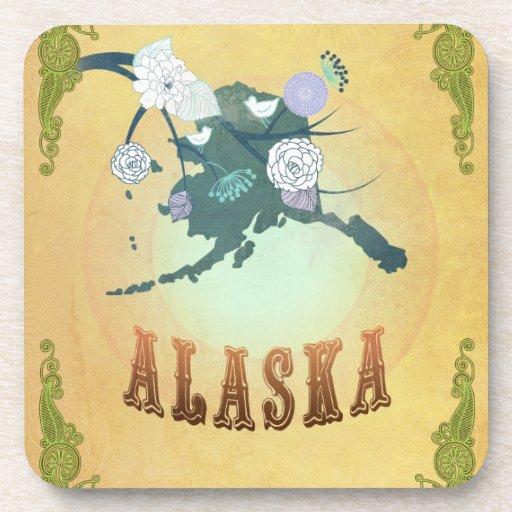 Vintage Alaska State Map- Passion Fruit Yellow Beverage Coasters