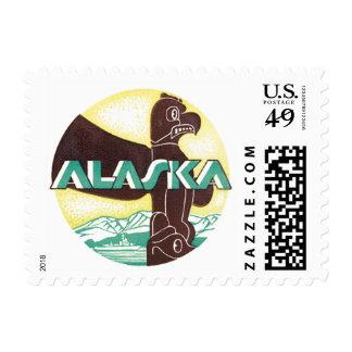 Vintage Alaska Travel Totem Pole Eagle Bird Stamps
