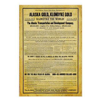 Vintage Alaskan Klondike Gold Rush Travel Poster