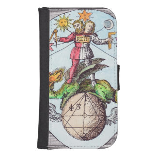 Vintage Alchemy Astrology Image Wallet Phone Case For Samsung Galaxy S4