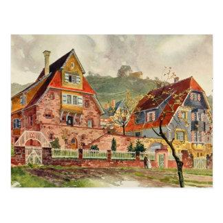 Vintage alemán de la arquitectura de la acuarela d postal