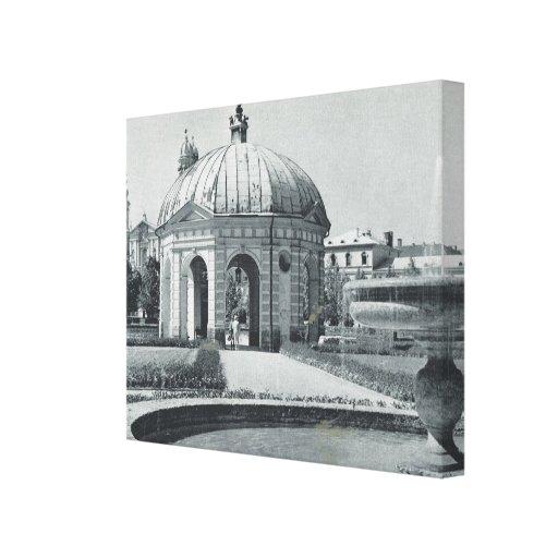 Vintage Alemania, Munich, fuente Pavillion Impresiones En Lona