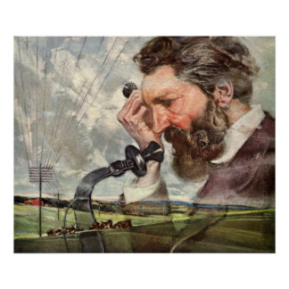 Vintage Alexander Graham Bell que habla en el telé Posters