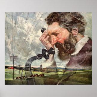 Vintage Alexander Graham Bell Talking on Telephone Print