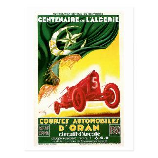 Vintage Algeria 1930 Racing cars Grand Prix Postcard