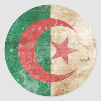 Vintage Algeria Flag Classic Round Sticker