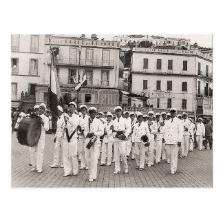 Vintage Algeria Philippeville town band, 1930s Postcard