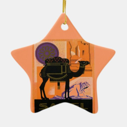 Vintage Algerian Wine, Vin Sahel, Algerie Double-Sided Star Ceramic Christmas Ornament