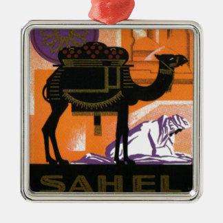 Vintage Algerian Wine, Vin Sahel, Algerie Square Metal Christmas Ornament