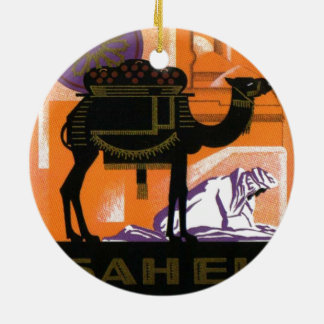 Vintage Algerian Wine, Vin Sahel, Algerie Double-Sided Ceramic Round Christmas Ornament