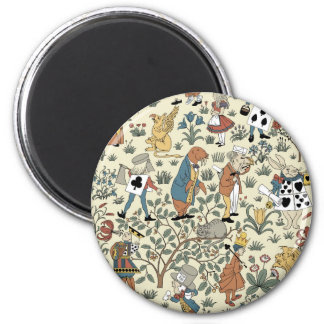 Vintage Alice and Friends Fabric Pattern 2 Inch Round Magnet