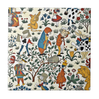 Vintage Alice and Friends Fabric Pattern Ceramic Tile