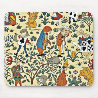 Vintage Alice and Friends Fabric Pattern Mouse Pad