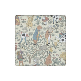 Vintage Alice and Friends Fabric Pattern Stone Magnet