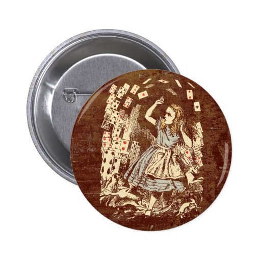Vintage Alice Flying Cards 2 Inch Round Button