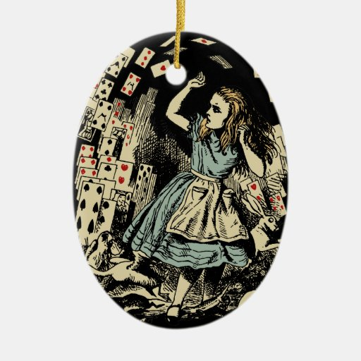 Vintage Alice Flying Cards Dark Ceramic Ornament