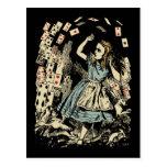 Vintage Alice Flying Cards Dark Postcards