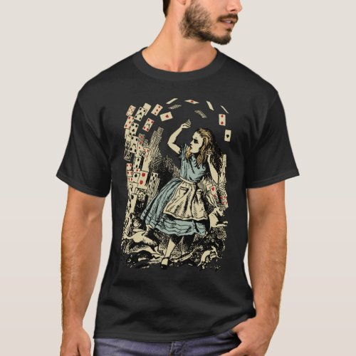 Vintage Alice Flying Cards Dark T_Shirt