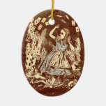 Vintage Alice Flying Cards Sepia Christmas Tree Ornaments