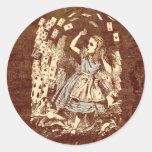 Vintage Alice Flying Cards Sticker