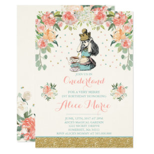 Vintage Alice In ONEderland Birthday Invitation
