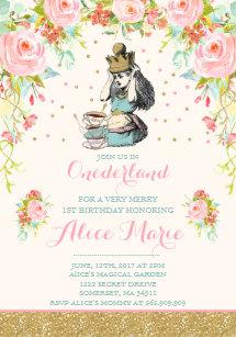 Vintage wonderland birthday invitations zazzle vintage alice in onederland birthday invitation filmwisefo