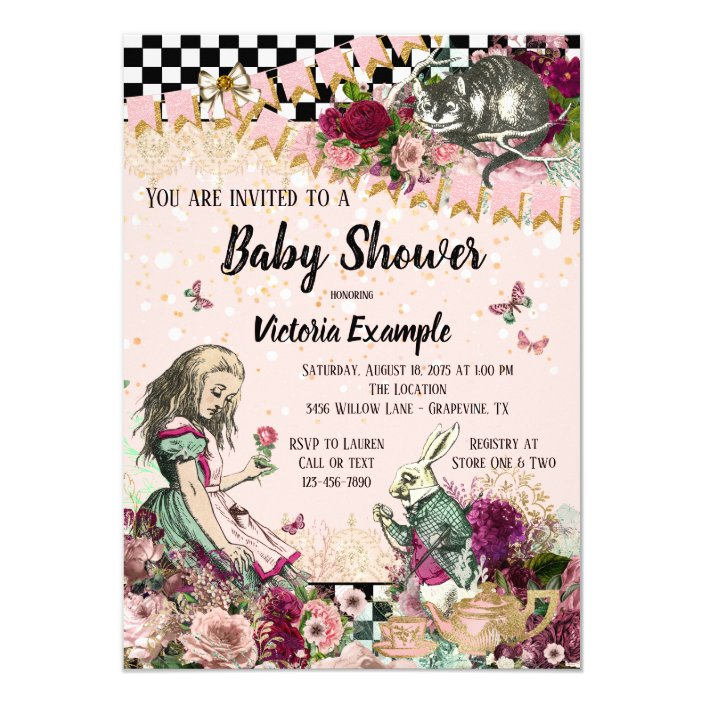 Wonderland Baby Shower Invitation