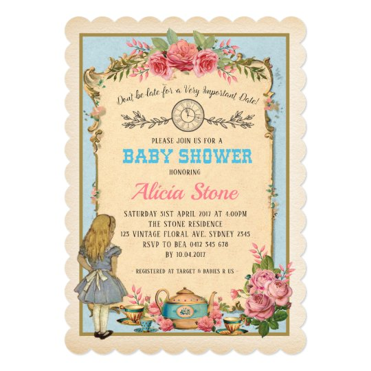 vintage alice in wonderland baby shower tea invite zazzle com