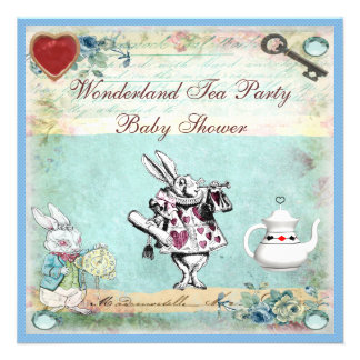 Vintage Alice in Wonderland Baby Shower Tea Party Invite