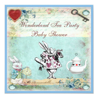 Vintage Alice in Wonderland Baby Shower Tea Party 5.25x5.25 Square Paper Invitation Card