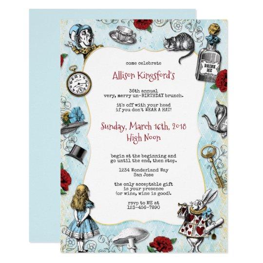 Vintage Alice In Wonderland Birthday Invitation Zazzle Com