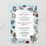 """Vintage Alice in Wonderland Birthday Invitation<br><div class=""""desc"""">Have fun with the text and add your own whimsical touches to this Alice in Wonderland themed party invitation. Vintage illustrations in red,  blue and gold with a blue distressed background make this ideal for a grown up tea party,  birthday or brunch.</div>"""
