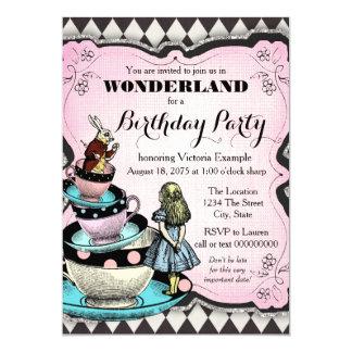 Vintage Alice in Wonderland Birthday Party 5x7 Paper Invitation Card